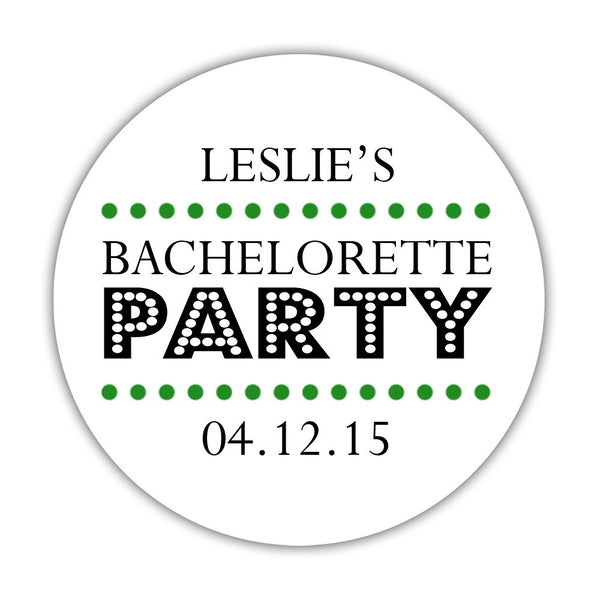 "Bachelorette party stickers 'Sassy Stipple' - 1.5"" circle = 30 labels per sheet / Green - Dazzling Daisies"