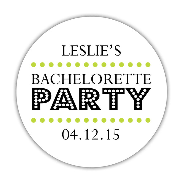 "Bachelorette party stickers 'Sassy Stipple' - 1.5"" circle = 30 labels per sheet / Lime - Dazzling Daisies"