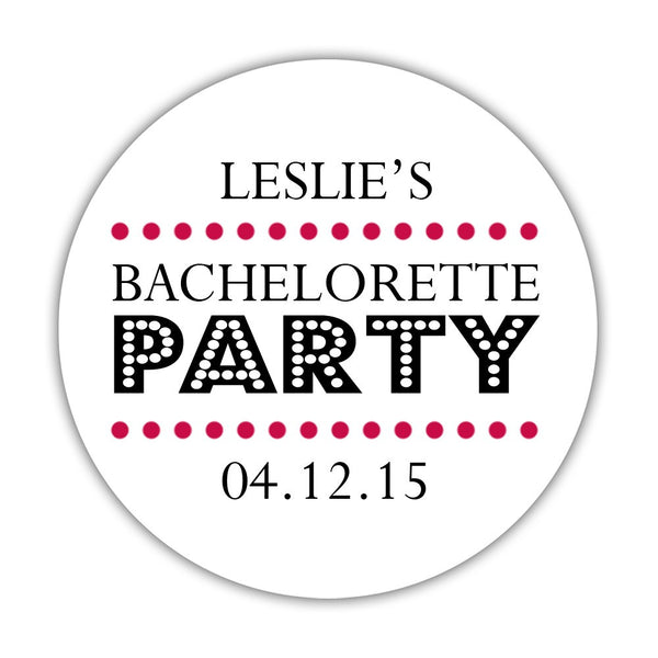 "Bachelorette party stickers 'Sassy Stipple' - 1.5"" circle = 30 labels per sheet / Raspberry - Dazzling Daisies"