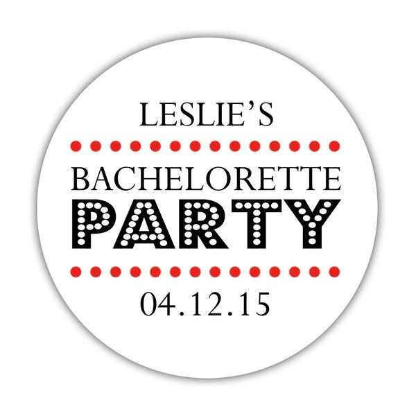"Bachelorette party stickers 'Sassy Stipple' - 1.5"" circle = 30 labels per sheet / Red - Dazzling Daisies"