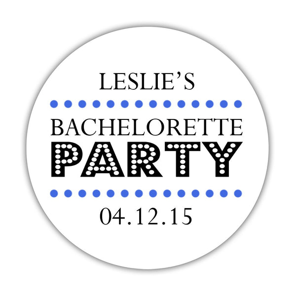 "Bachelorette party stickers 'Sassy Stipple' - 1.5"" circle = 30 labels per sheet / Royal blue - Dazzling Daisies"