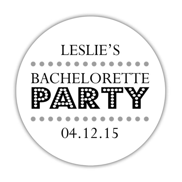 "Bachelorette party stickers 'Sassy Stipple' - 1.5"" circle = 30 labels per sheet / Silver - Dazzling Daisies"