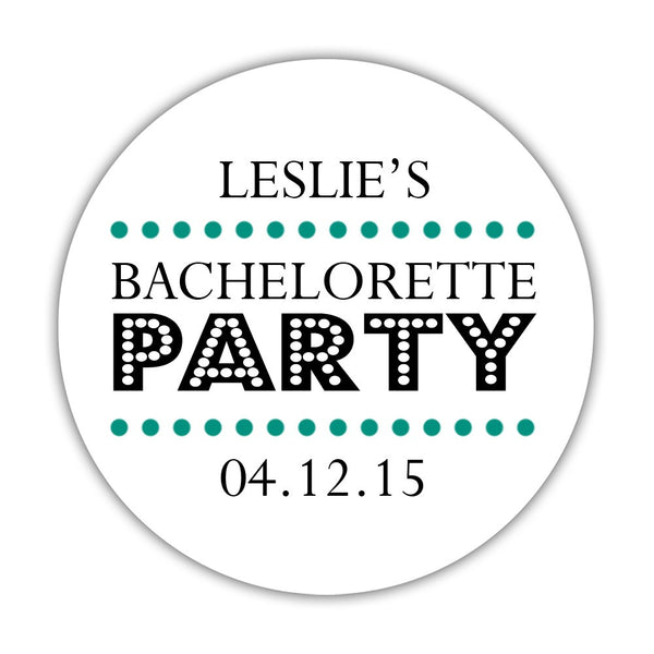 "Bachelorette party stickers 'Sassy Stipple' - 1.5"" circle = 30 labels per sheet / Teal - Dazzling Daisies"