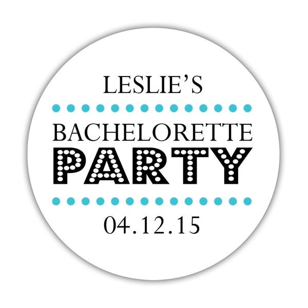 "Bachelorette party stickers 'Sassy Stipple' - 1.5"" circle = 30 labels per sheet / Turquoise - Dazzling Daisies"