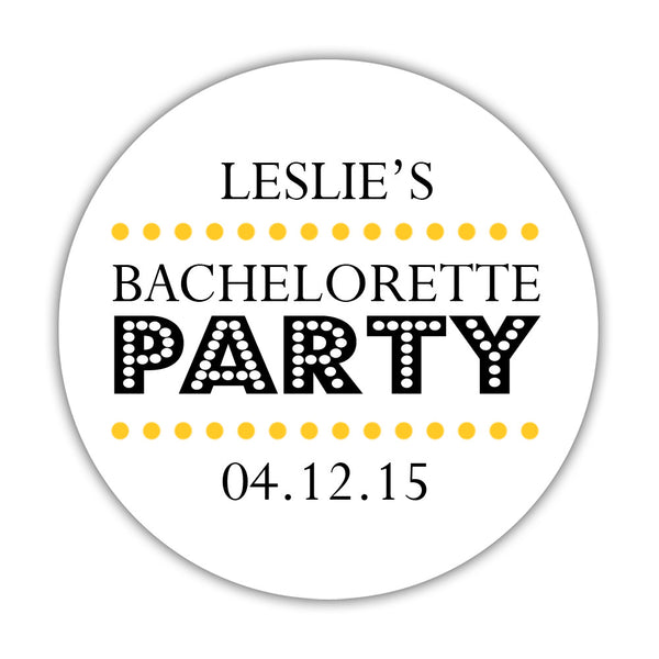 "Bachelorette party stickers 'Sassy Stipple' - 1.5"" circle = 30 labels per sheet / Yellow - Dazzling Daisies"