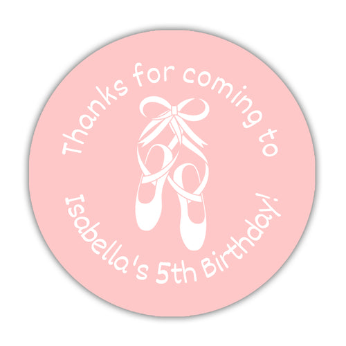 "Ballet favor stickers - 1.5"" circle = 30 labels per sheet / Blush - Dazzling Daisies"