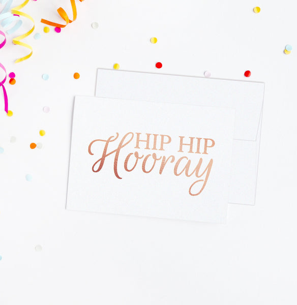 Hip hip hooray card - Rose gold foil - Dazzling Daisies