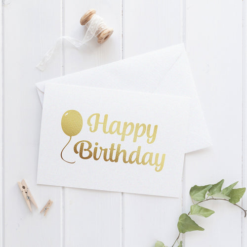 Happy birthday card 'Balloon' - Gold foil - Dazzling Daisies