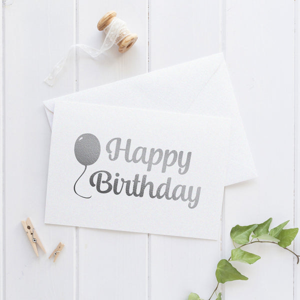 Happy birthday card 'Balloon' - Silver foil - Dazzling Daisies