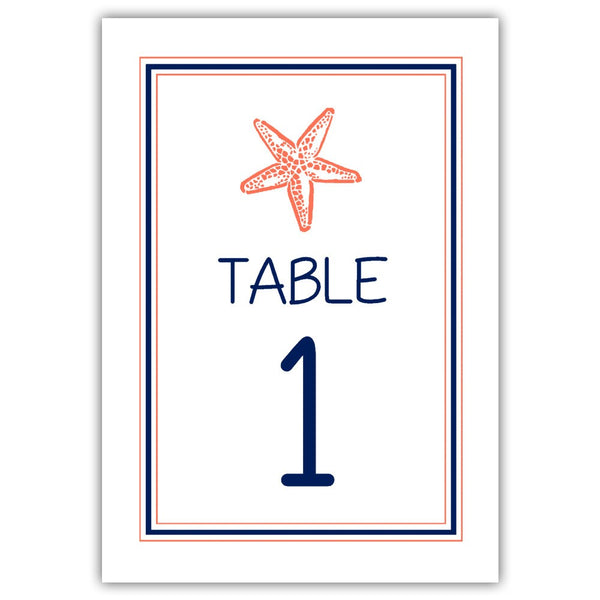 Beach wedding table numbers - 1-6 / Navy/Coral - Dazzling Daisies