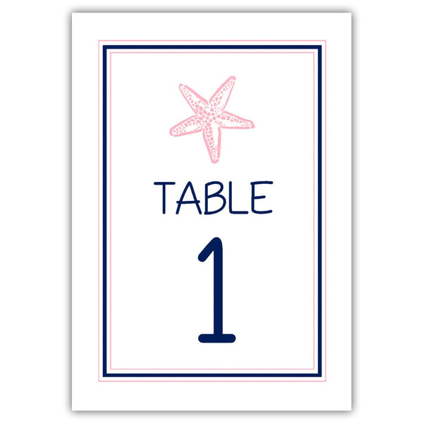 Beach wedding table numbers - 1-6 / Navy/Pink - Dazzling Daisies