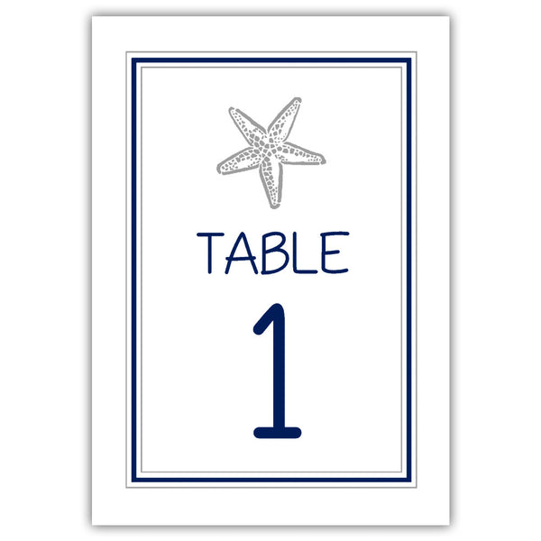 Beach wedding table numbers - 1-6 / Navy/Silver - Dazzling Daisies