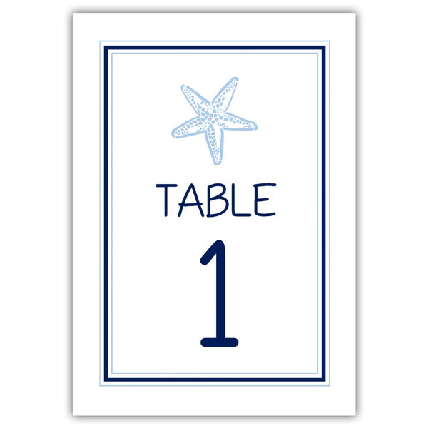 Beach wedding table numbers - 1-6 / Navy/Steel blue - Dazzling Daisies