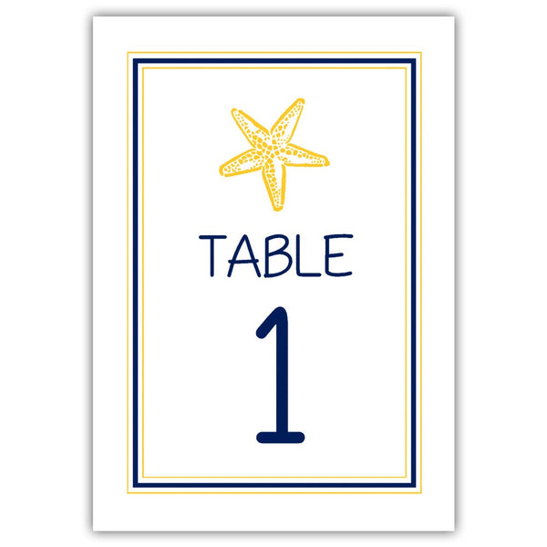 Beach wedding table numbers - 1-6 / Navy/Yellow - Dazzling Daisies