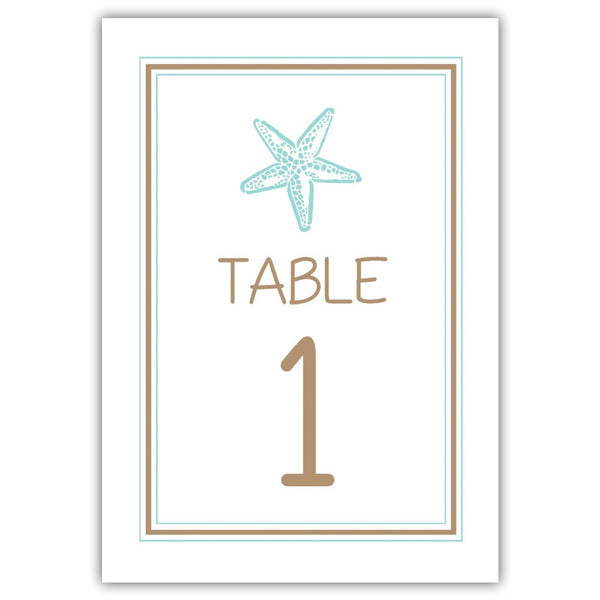 Beach wedding table numbers - 1-6 / Sand/Aquamarine - Dazzling Daisies