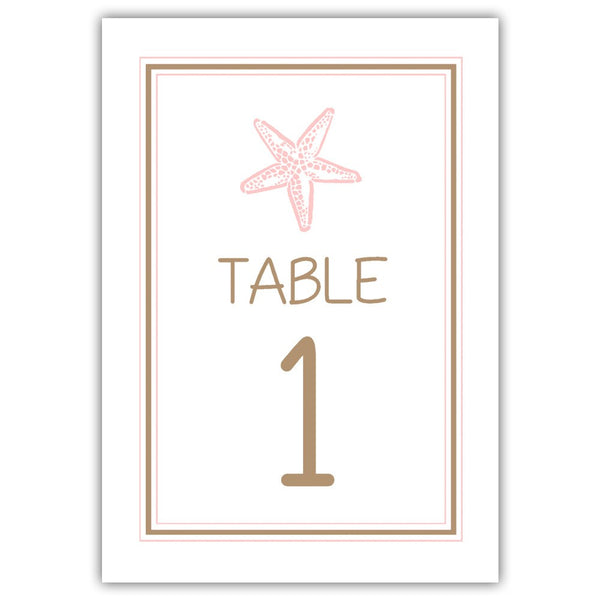 Beach wedding table numbers - 1-6 / Sand/Blush - Dazzling Daisies