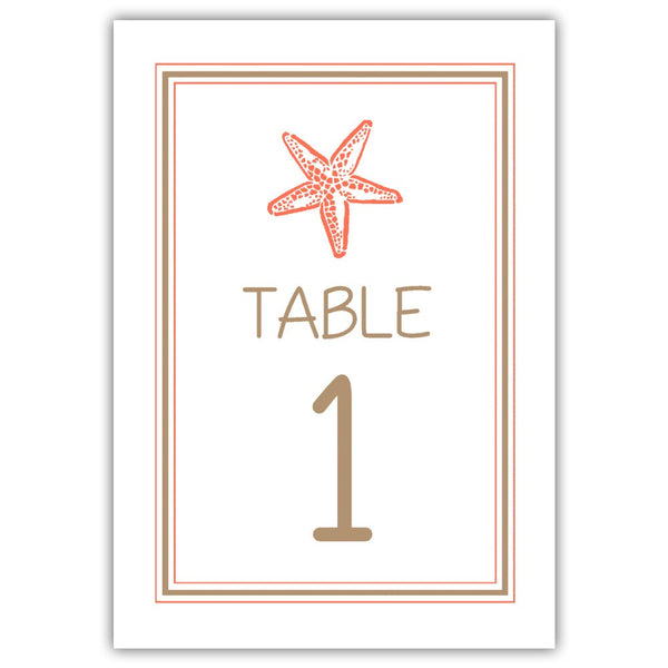 Beach wedding table numbers - 1-6 / Sand/Coral - Dazzling Daisies