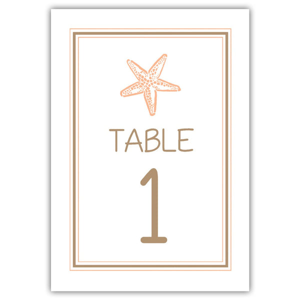 Beach wedding table numbers - 1-6 / Sand/Peach - Dazzling Daisies