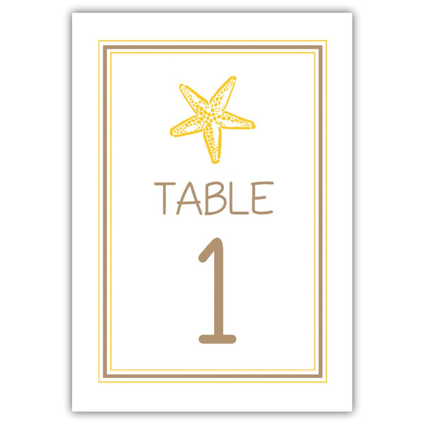 Beach wedding table numbers - 1-6 / Sand/Yellow - Dazzling Daisies