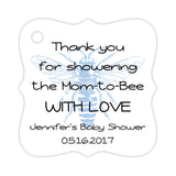 Bee baby shower tags - Steel blue - Dazzling Daisies