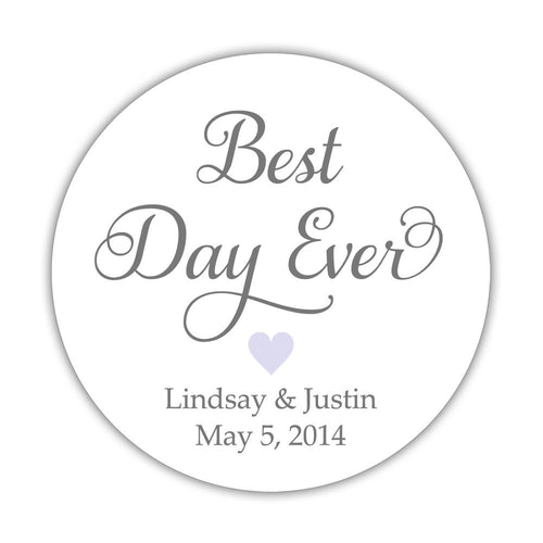 "Best day ever stickers - 1.5"" circle = 30 labels per sheet / Gray/Lavender - Dazzling Daisies"