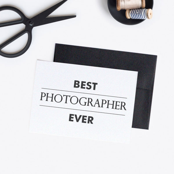 Best photographer ever card 'Modern Lines' - White / White - Dazzling Daisies