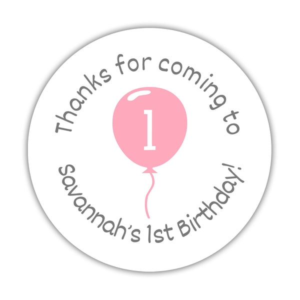 "Birthday stickers 'Balloon' - 1.5"" circle = 30 labels per sheet / Pink - Dazzling Daisies"
