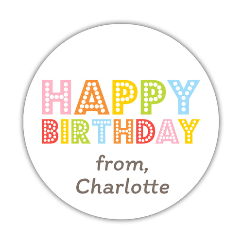Happy birthday stickers 'Pastel Rainbow' -  - Dazzling Daisies