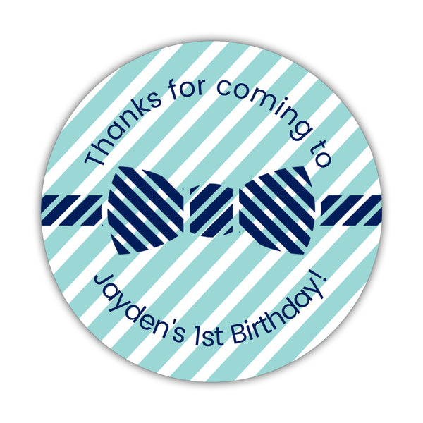 "Birthday stickers 'Bow tie Cuteness' - 1.5"" circle = 30 labels per sheet / Aquamarine - Dazzling Daisies"
