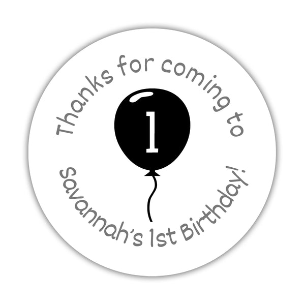 "Birthday stickers 'Balloon' - 1.5"" circle = 30 labels per sheet / Black - Dazzling Daisies"
