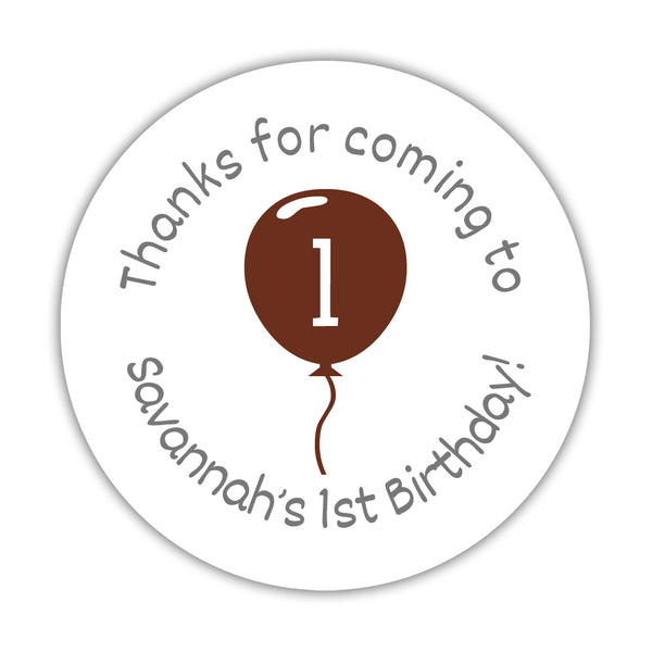 "Birthday stickers 'Balloon' - 1.5"" circle = 30 labels per sheet / Chocolate - Dazzling Daisies"