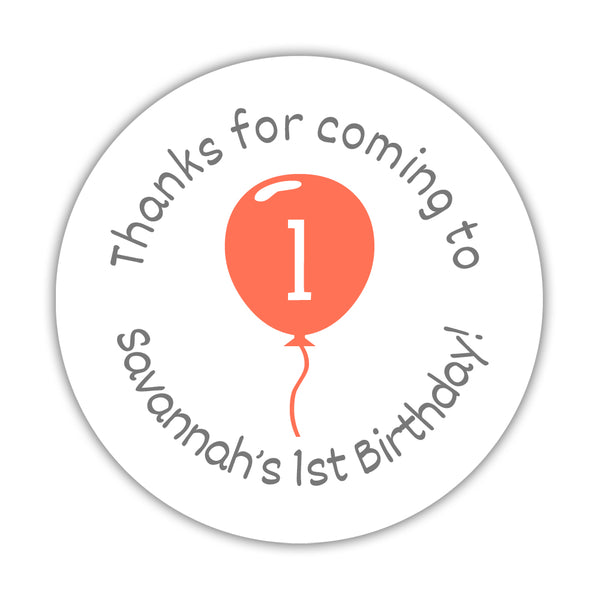 "Birthday stickers 'Balloon' - 1.5"" circle = 30 labels per sheet / Coral - Dazzling Daisies"
