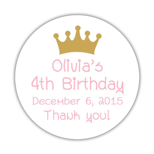 "Birthday stickers 'Princess Crown' - 1.5"" circle = 30 labels per sheet / Gold - Dazzling Daisies"