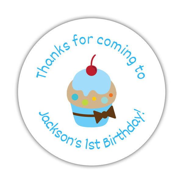 "Birthday stickers 'Cupcake Goodness' - 1.5"" circle = 30 labels per sheet / Sky blue - Dazzling Daisies"