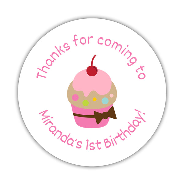 "Birthday stickers 'Cupcake Goodness' - 1.5"" circle = 30 labels per sheet / Pink - Dazzling Daisies"