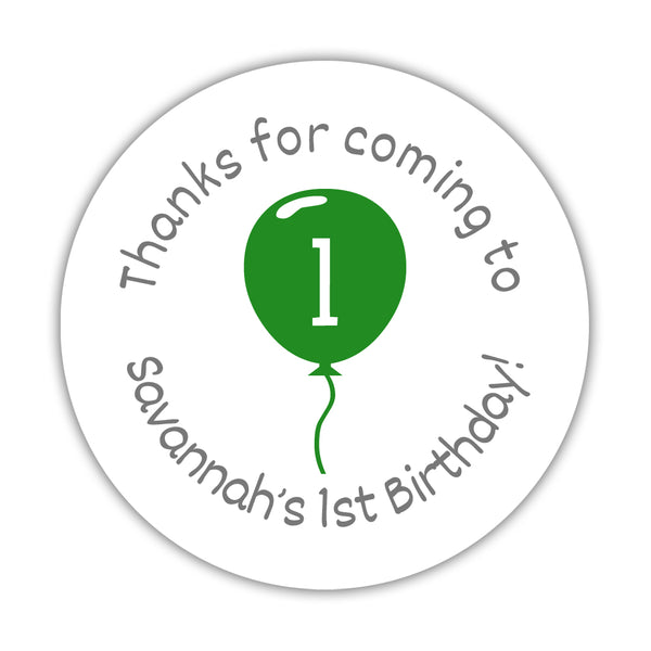 "Birthday stickers 'Balloon' - 1.5"" circle = 30 labels per sheet / Green - Dazzling Daisies"
