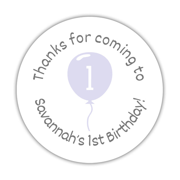 "Birthday stickers 'Balloon' - 1.5"" circle = 30 labels per sheet / Lavender - Dazzling Daisies"