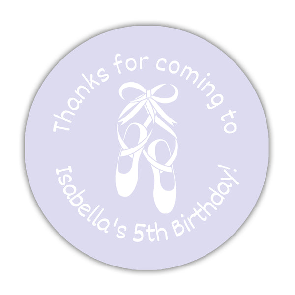 "Ballet favor stickers - 1.5"" circle = 30 labels per sheet / Lavender - Dazzling Daisies"