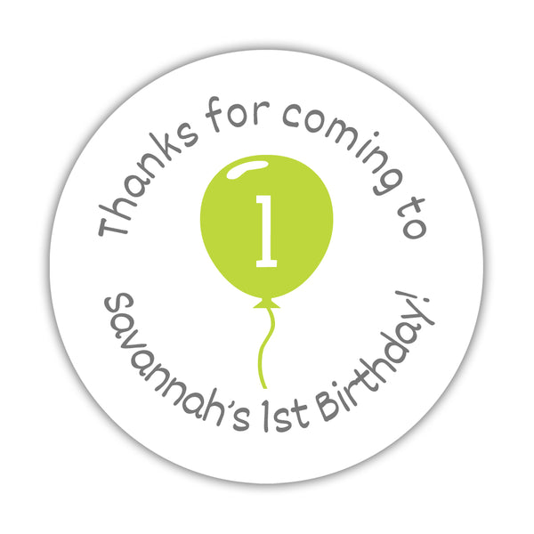 "Birthday stickers 'Balloon' - 1.5"" circle = 30 labels per sheet / Lime - Dazzling Daisies"