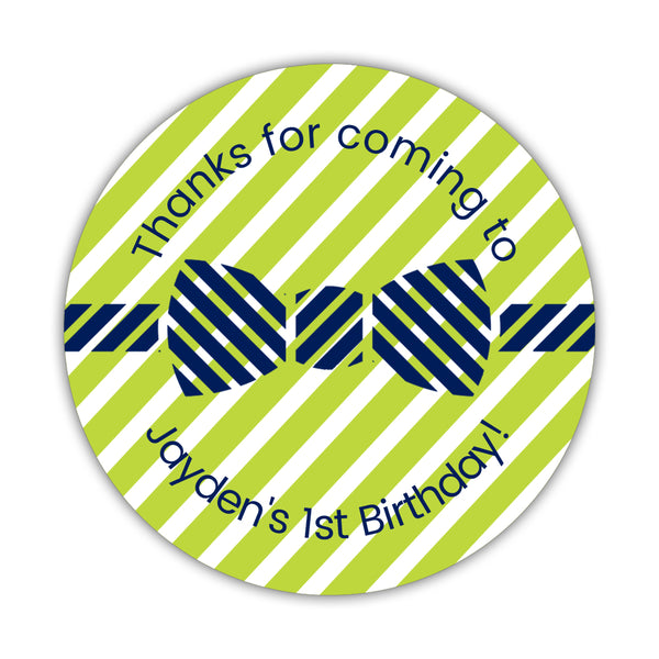 "Birthday stickers 'Bow tie Cuteness' - 1.5"" circle = 30 labels per sheet / Lime - Dazzling Daisies"