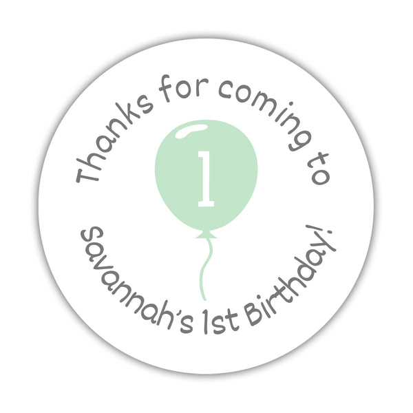 "Birthday stickers 'Balloon' - 1.5"" circle = 30 labels per sheet / Mint - Dazzling Daisies"