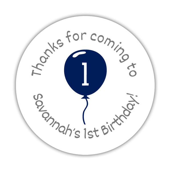 "Birthday stickers 'Balloon' - 1.5"" circle = 30 labels per sheet / Navy - Dazzling Daisies"
