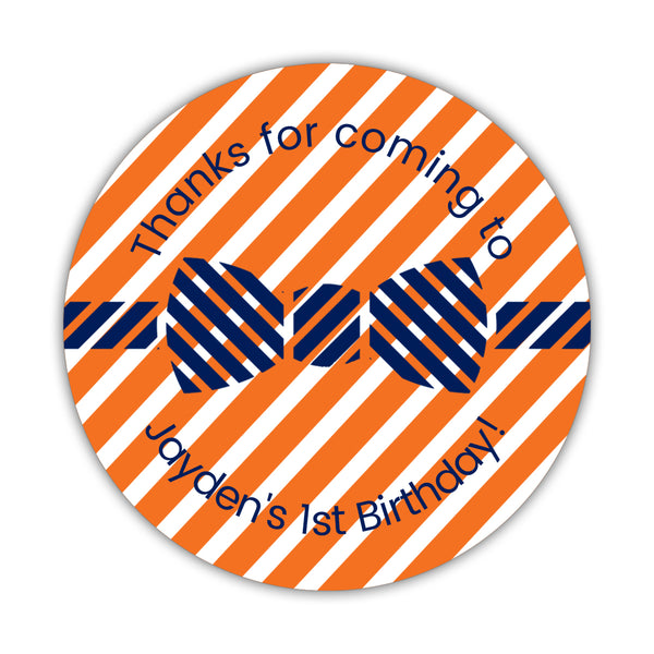 "Birthday stickers 'Bow tie Cuteness' - 1.5"" circle = 30 labels per sheet / Orange - Dazzling Daisies"