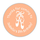 "Ballet favor stickers - 1.5"" circle = 30 labels per sheet / Peach - Dazzling Daisies"