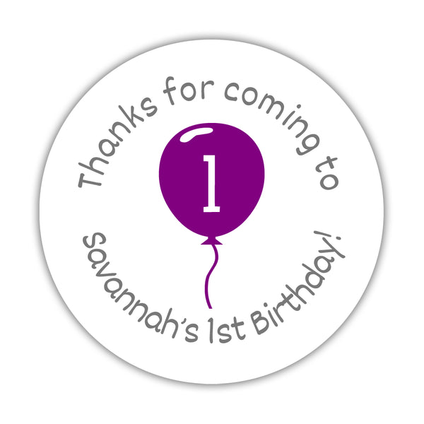 "Birthday stickers 'Balloon' - 1.5"" circle = 30 labels per sheet / Purple - Dazzling Daisies"