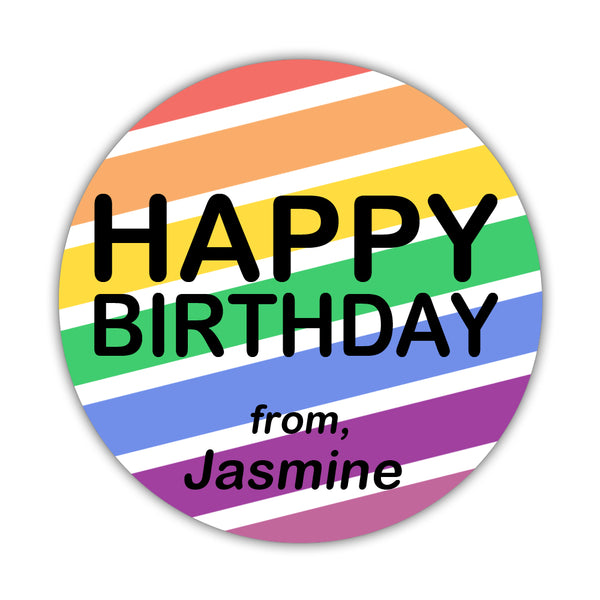"Happy birthday stickers 'Bright Rainbow' - 1.5"" circle = 30 labels per sheet - Dazzling Daisies"