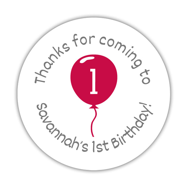 "Birthday stickers 'Balloon' - 1.5"" circle = 30 labels per sheet / Raspberry - Dazzling Daisies"