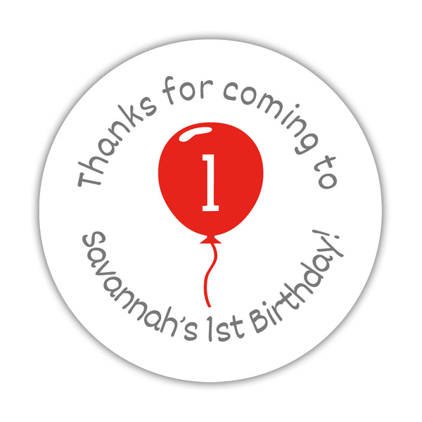 "Birthday stickers 'Balloon' - 1.5"" circle = 30 labels per sheet / Red - Dazzling Daisies"