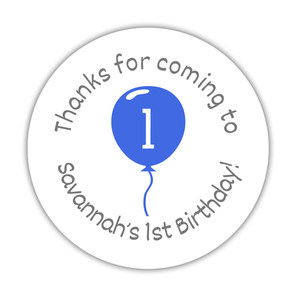 "Birthday stickers 'Balloon' - 1.5"" circle = 30 labels per sheet / Royal blue - Dazzling Daisies"