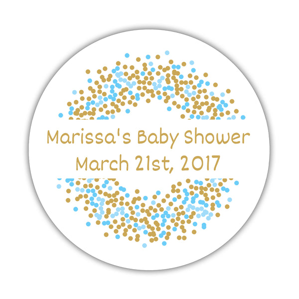 "Favor stickers 'Confetti Sprinkle' - 1.5"" circle = 30 labels per sheet / Gold/Sky blue - Dazzling Daisies"